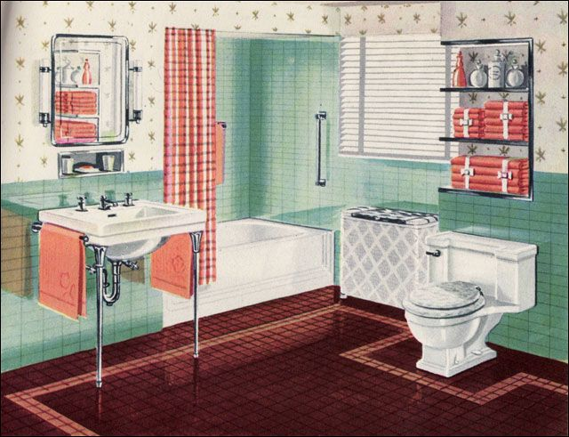 1942 orange green bathroom okay not the green and orange but the little inset over the sink Bathroom design jobs london