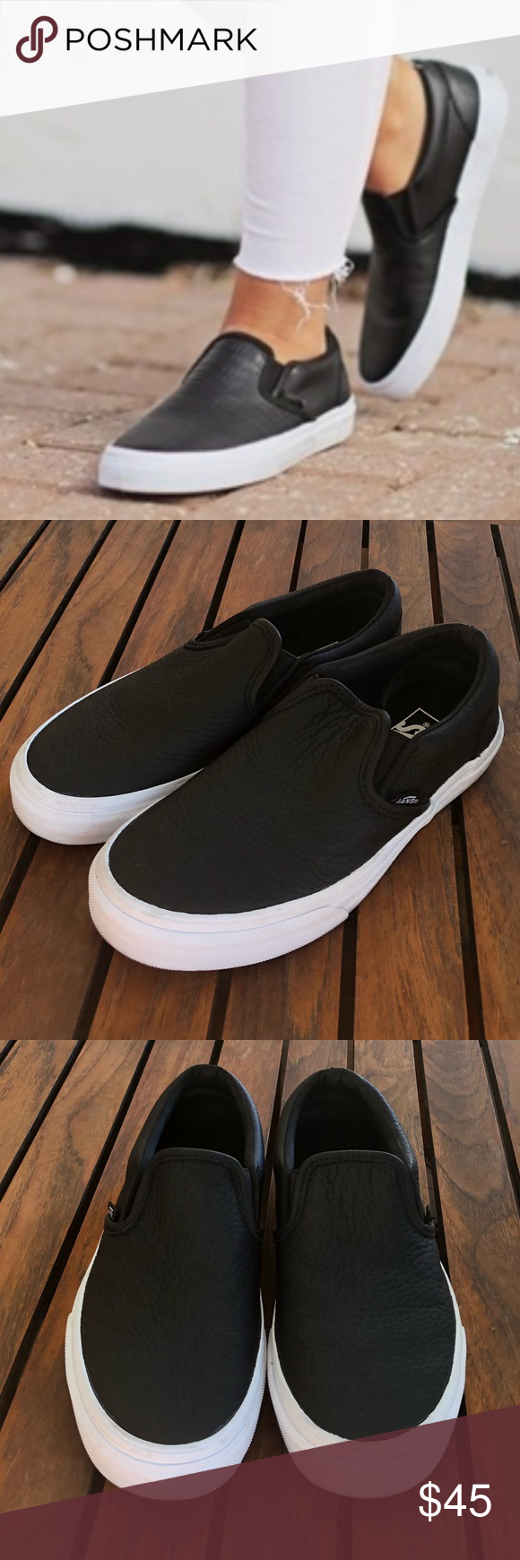 Vans Slip-On Black Tumbled Leather