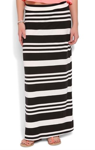 Striped Maxi Skirt with Elastic Waistband