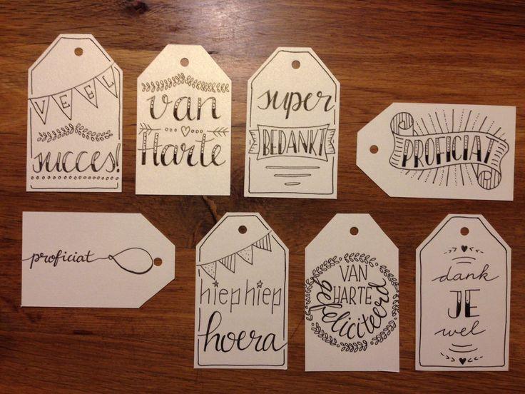 Handlettering Diverse Cadeaulabels Kadolabels