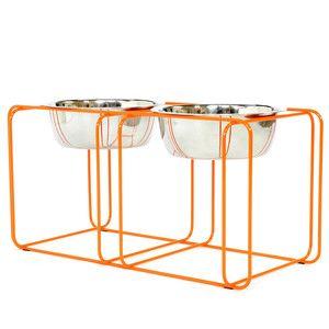 Wire Dine Medium 8 Cup Orange Dog Feeder Elevated Dog Feeder