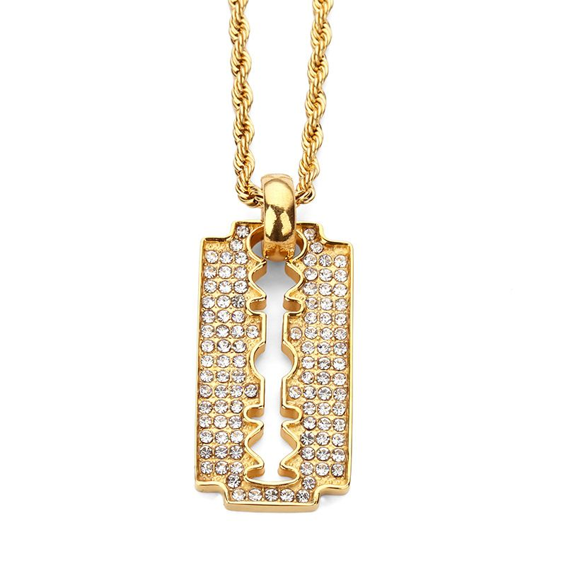 2017 stainless steel blade personalized razor pendant necklace cheap hip hop jewelry buy quality designer jewelry directly from china fashion jewelry suppliers fashion razor blade pendant necklaces steel full mozeypictures Image collections