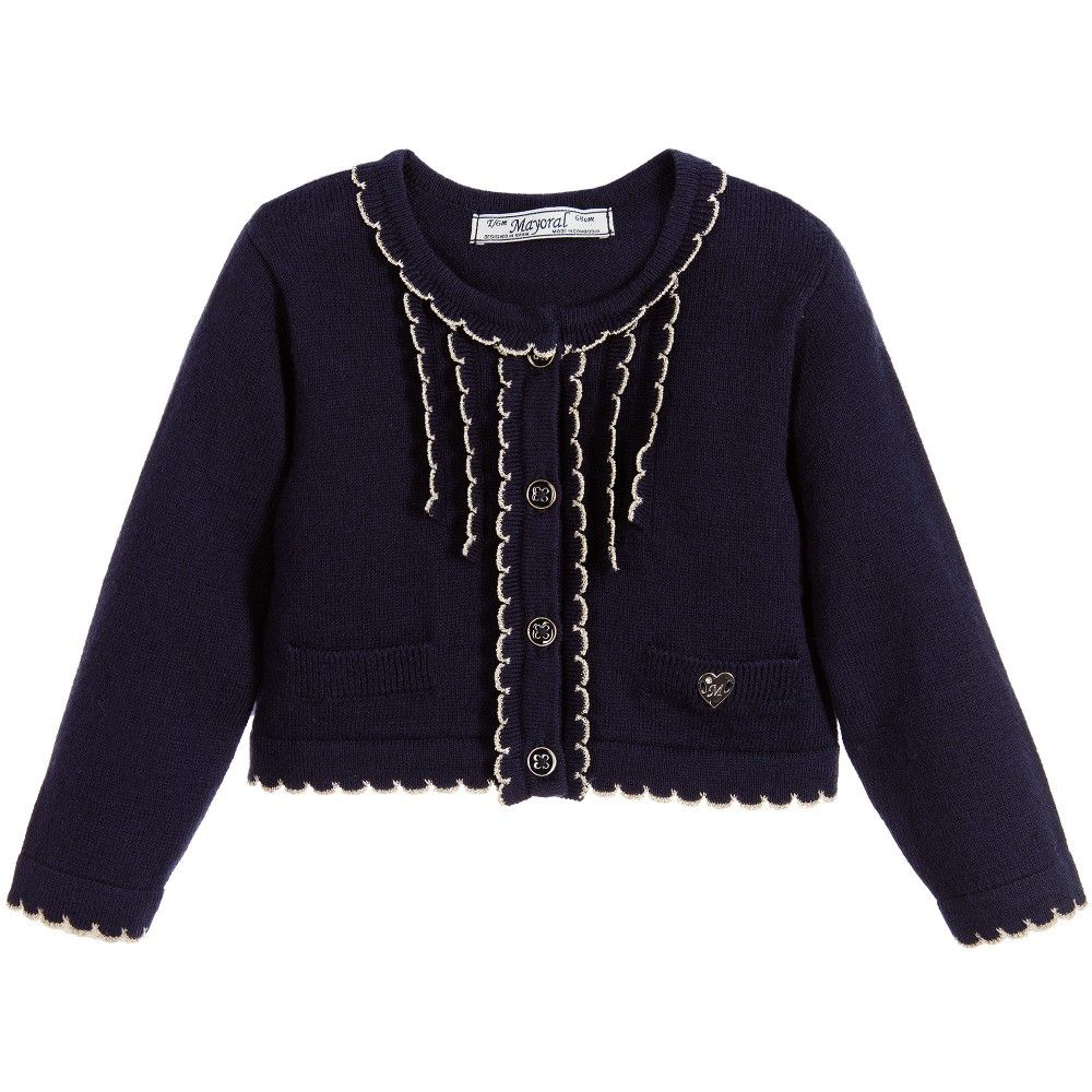 85e4c23a3855 Mayoral Baby Girls Navy Blue Cotton   Angora Knitted Cardigan at ...