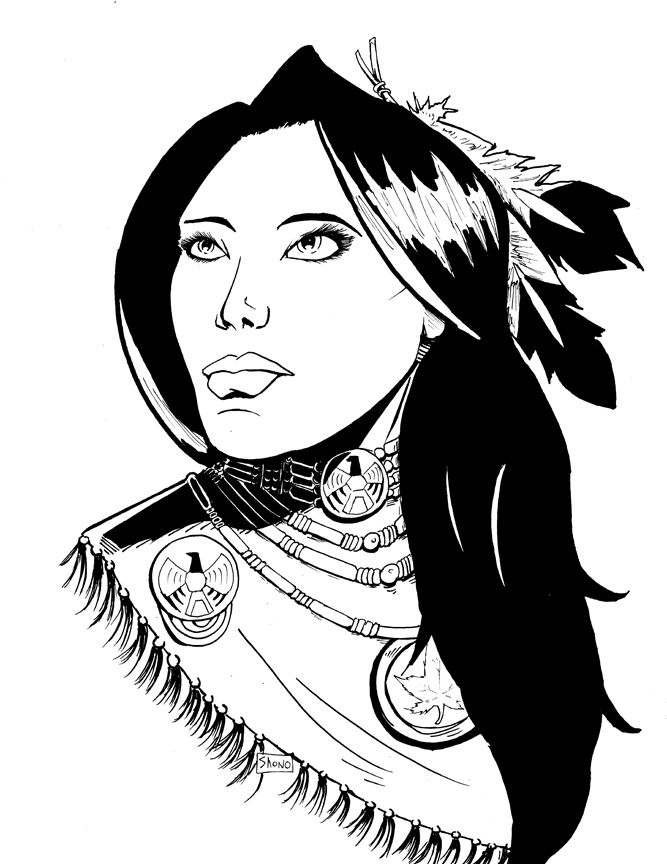how to draw a native american woman
