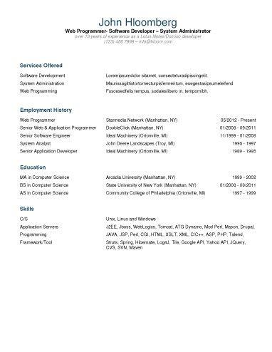 IT Contractor Resume Template ~*Free Printables*~ Pinterest