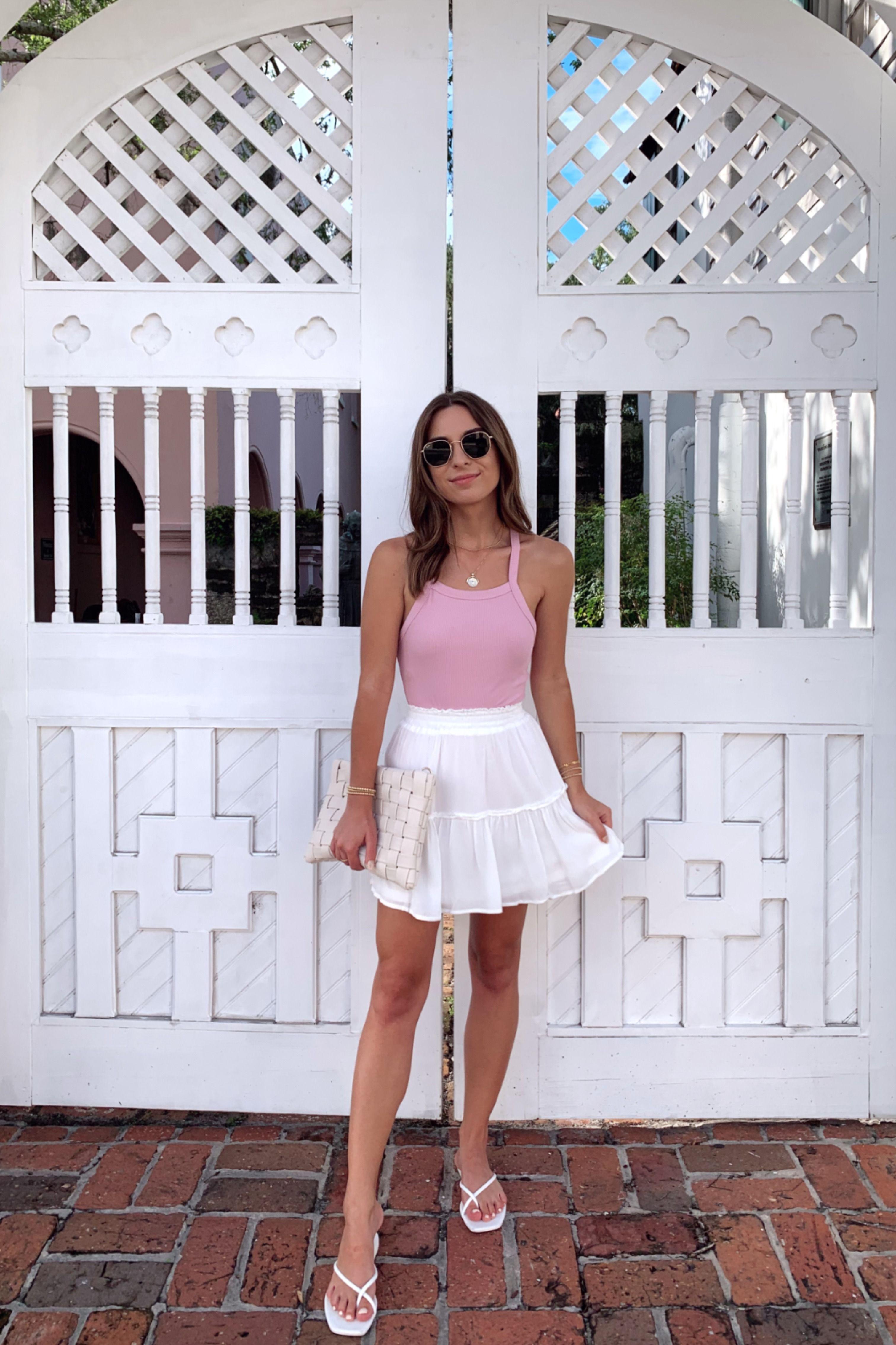 White Flowy Mini Skirt Summer Outfit Shopsunhoney Summerstyle Summerinspo Whitesk Cute Skirt Outfits Mini Skirts Outfits Summer Trendy Summer Outfits [ 4536 x 3024 Pixel ]