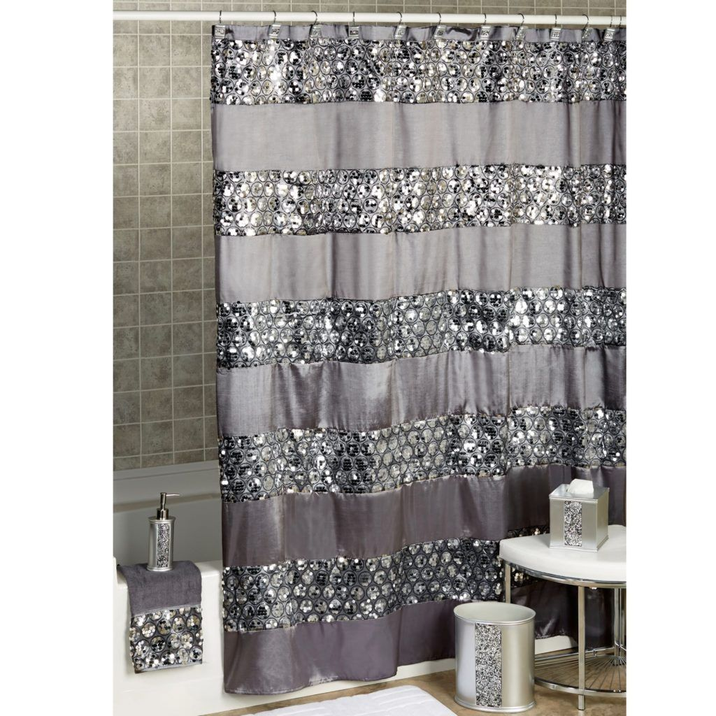 Grey Shimmer Silver Shower Curtain Gray Shower Curtains Black