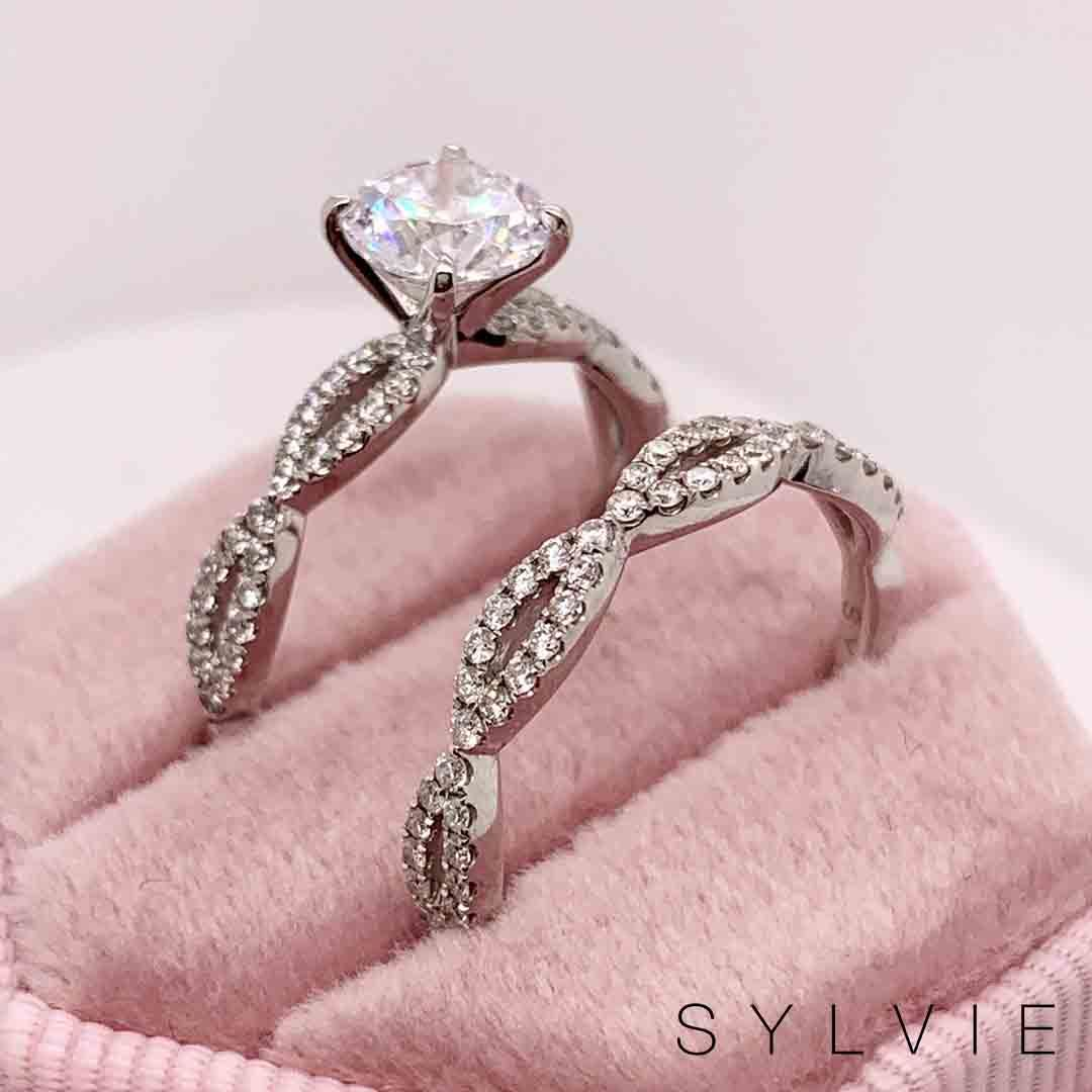 Spiral Engagement Rings Sylvie Diamond Rings Spiral Engagement Ring Stylish Engagement Rings Wedding Ring Sets