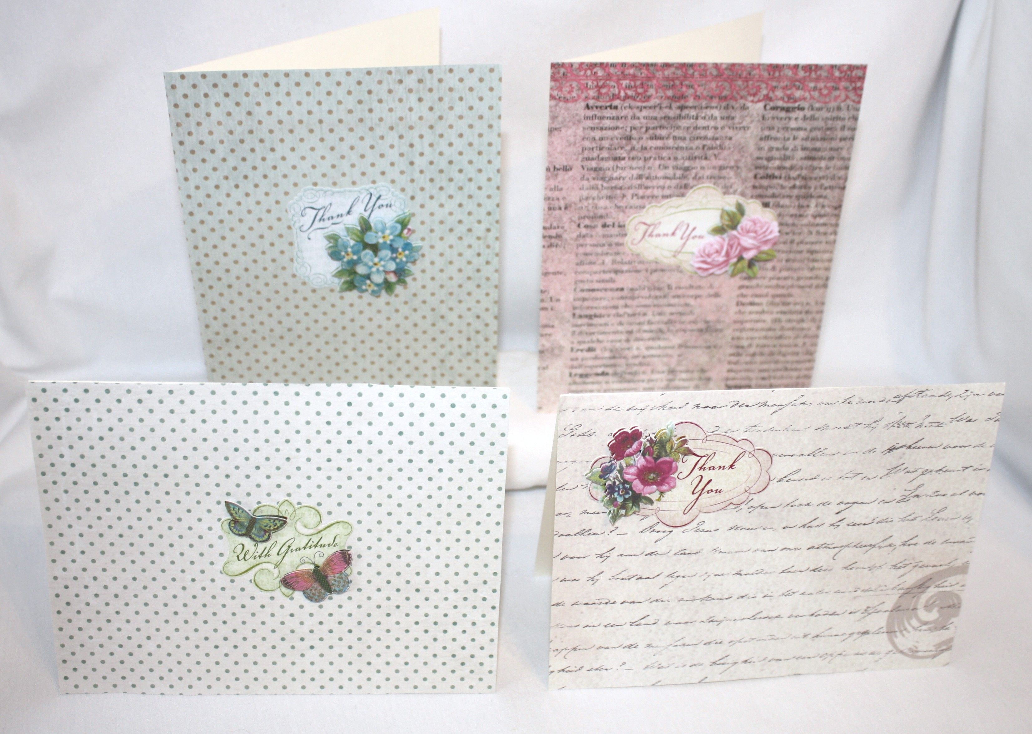 "Handcrafted by Teal Palmetto, LLC.  This is a lovely set of 4 ""Thank You"" cards in Victorian prints of teal, pink, green, and cream.  Price: $10."