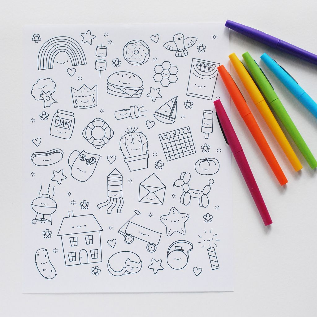 printable kawaii coloring picture for all ages - Colouring For All