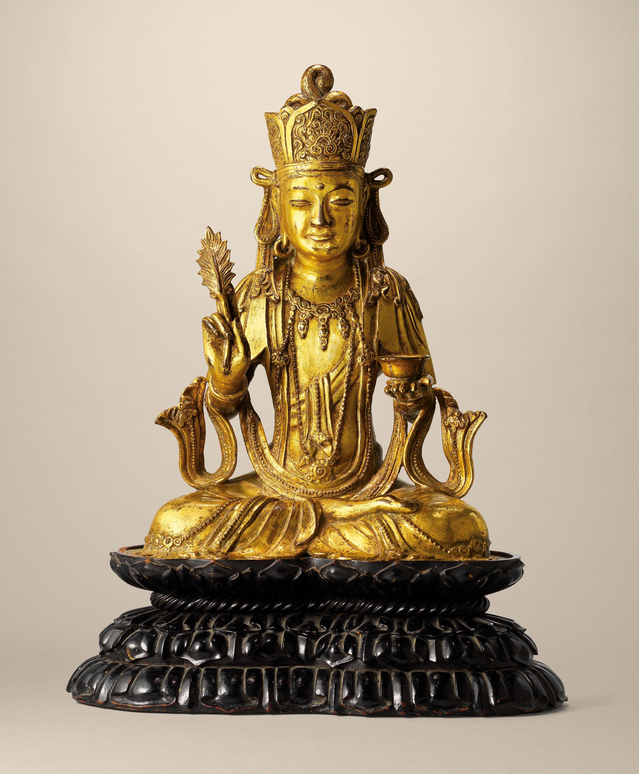 """12/"""" Tibetan Buddhism copper gilt hand painting Guanyin  Avalokitesvara statue"""