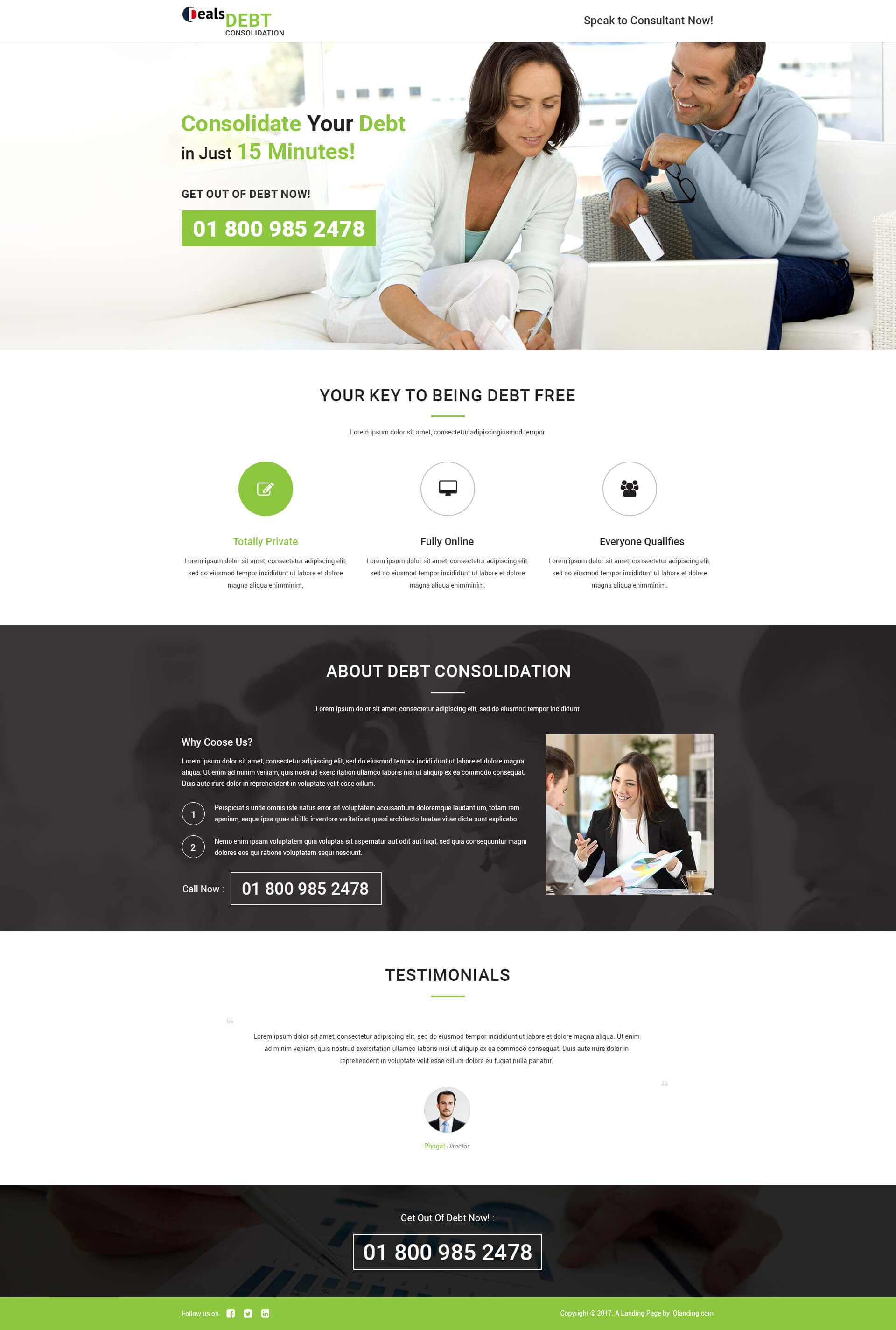 Debt Consolidation PPC Landing Page Design Template For Credit Card ...
