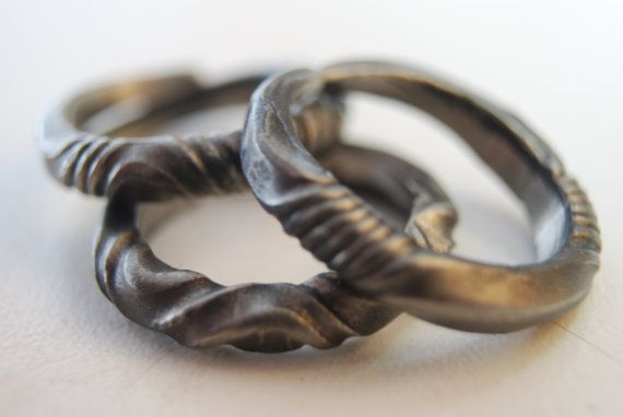 awe inspiring hand forged stainless steel ring by organicironconcepts, $120.00