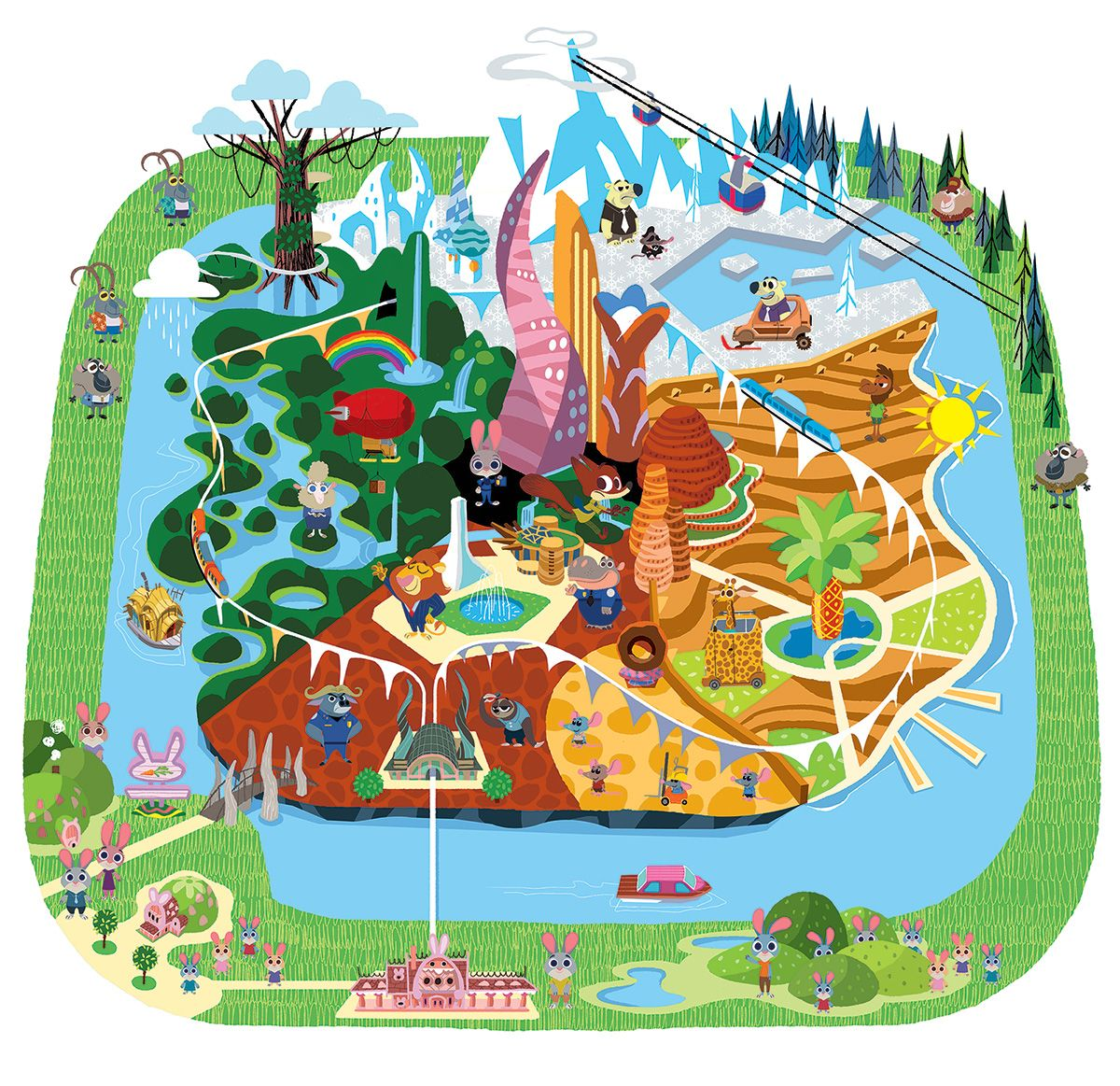 Disney Los Angeles Map.Map I Created For Zootopia Ricky De Los Angeles And I Worked
