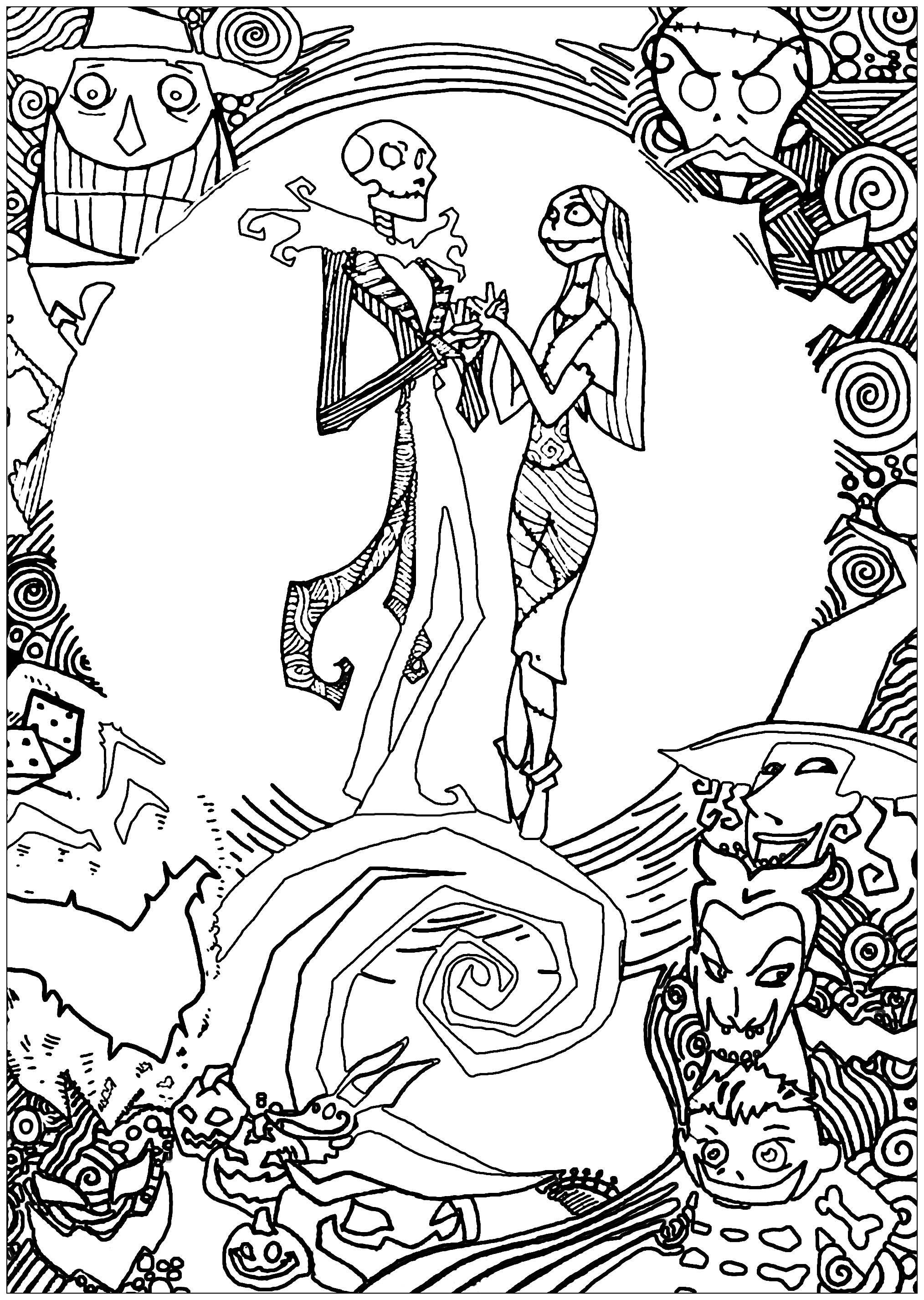 L'étrange Noël de Mr Jack : coloriage de Jack et Sully | A partir