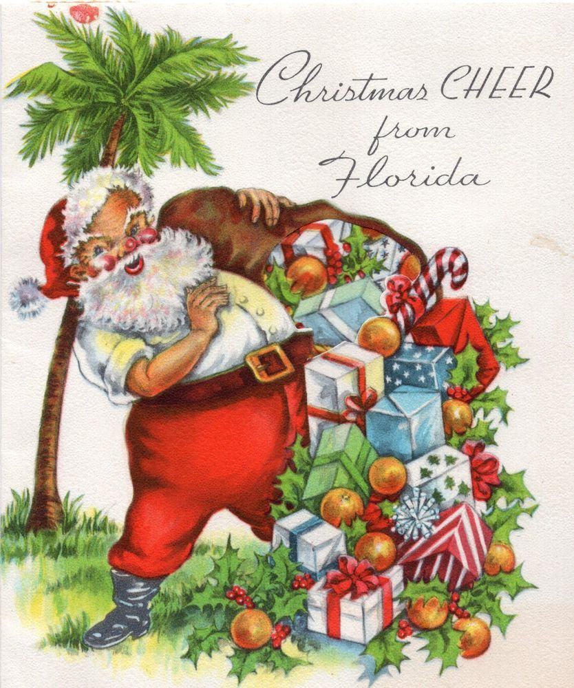Florida Santa Claus Palm Tree Oranges Presents Gifts Vtg Christmas