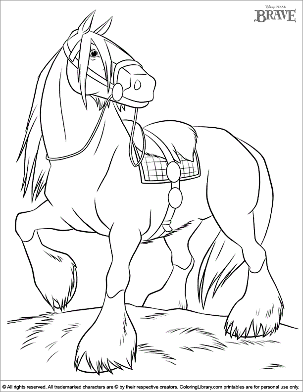 Brave Coloring Page The Cool Cute Horse From The Movie Brave Horse Coloring Pages Horse Coloring Books Horse Coloring