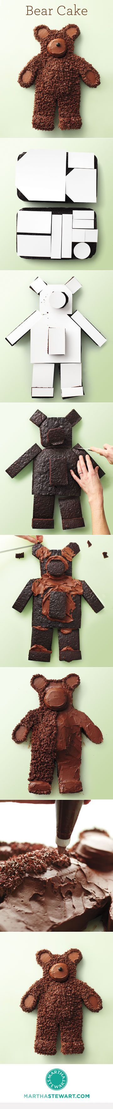How to Make a Bear Cake // Think how much respect this would get you at a Baylor tailgate or party. Pretty simple if you have the patience for it!