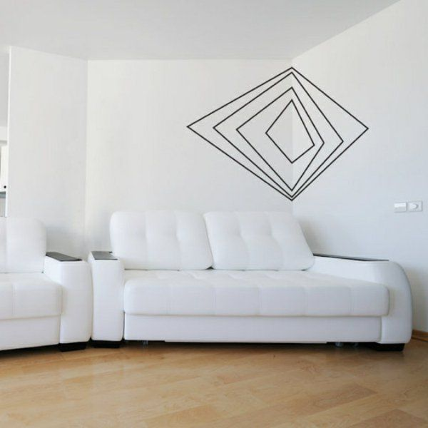 pur weiß Wandgestaltung mit Farbe wandfarben ideen Kreativ - wandgestalten mit farbe