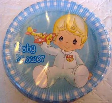 Baby Blue Boy Precious Moments Baby Shower Plates Tableware