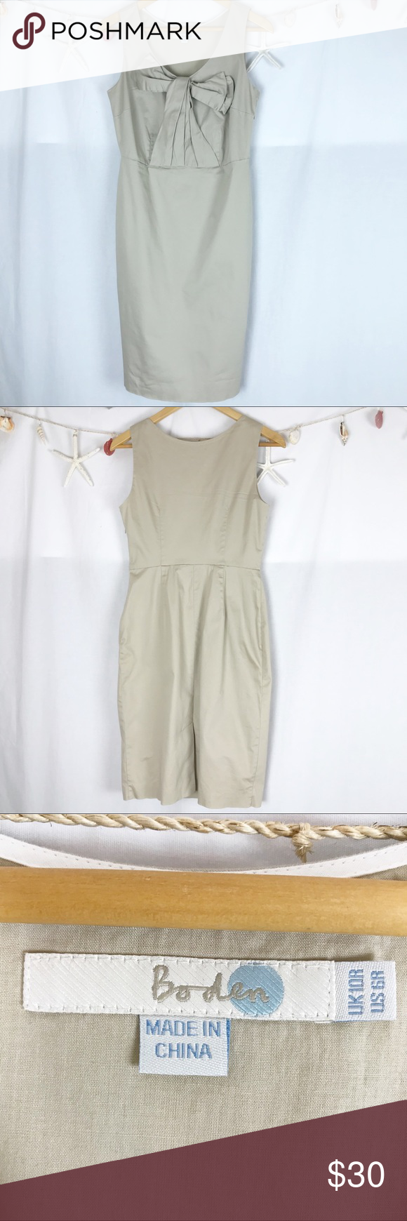 Boden beautiful tan Bow Front Dress size 6.    178