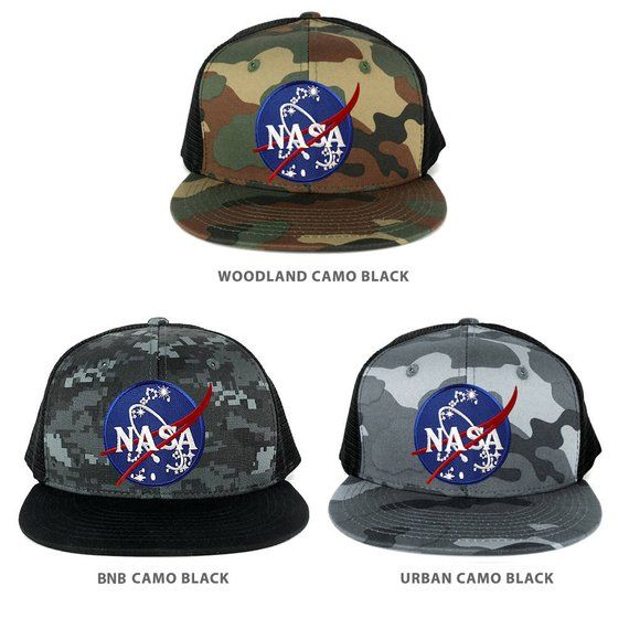 beed9d31692d9 NASA Insignia Space Emblem Embroidered Iron on Patch Snapback Trucker Mesh  Cap (1055-INSIGNIA)