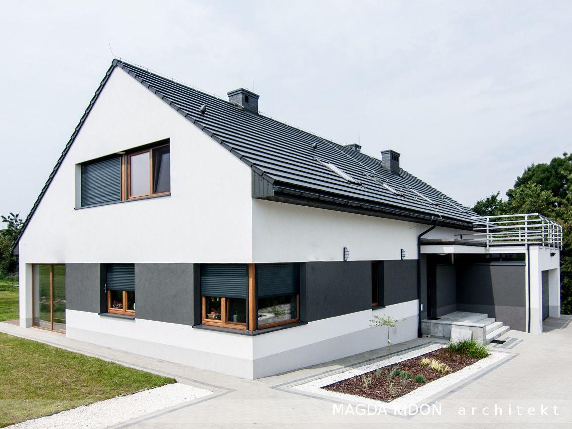 W superbly Projekt elewacji południowej domu jednorodzinnego z dużymi oknami QK07