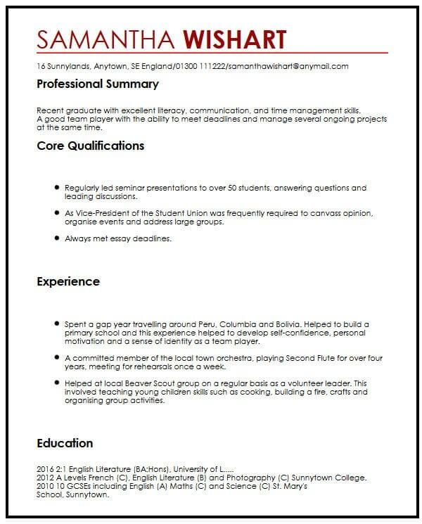 Cv Sample With No Job Experience Myperfectcv Job Resume Examples No Experience Jobs Work Experience Cv