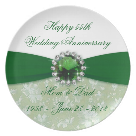 Damask 55th Wedding Anniversary Melamine Plate 60th Anniversary