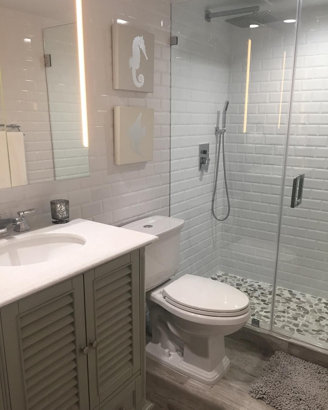 Love this style shower with the subway