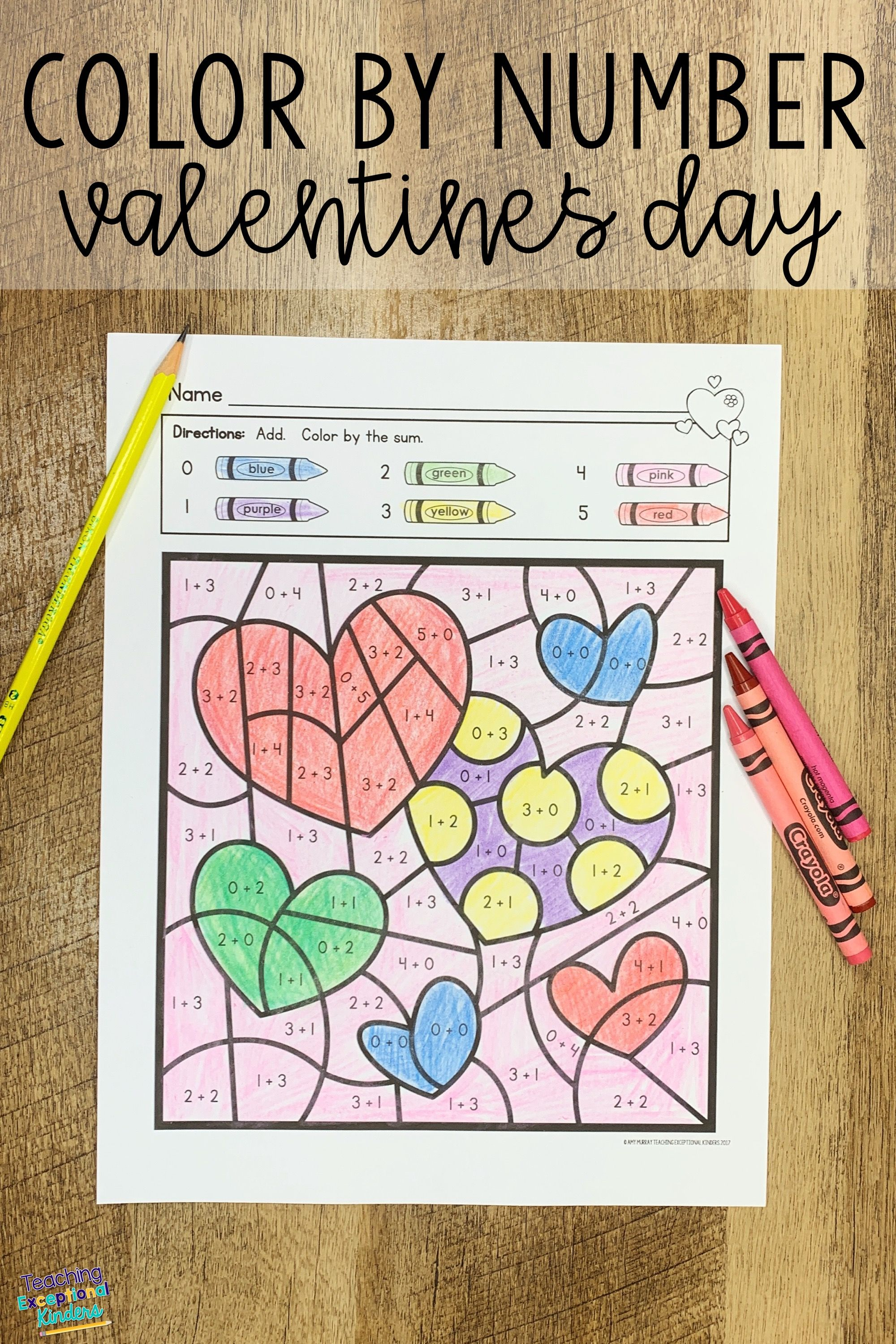 Valentine S Day Color By Number Worksheets Kindergarten