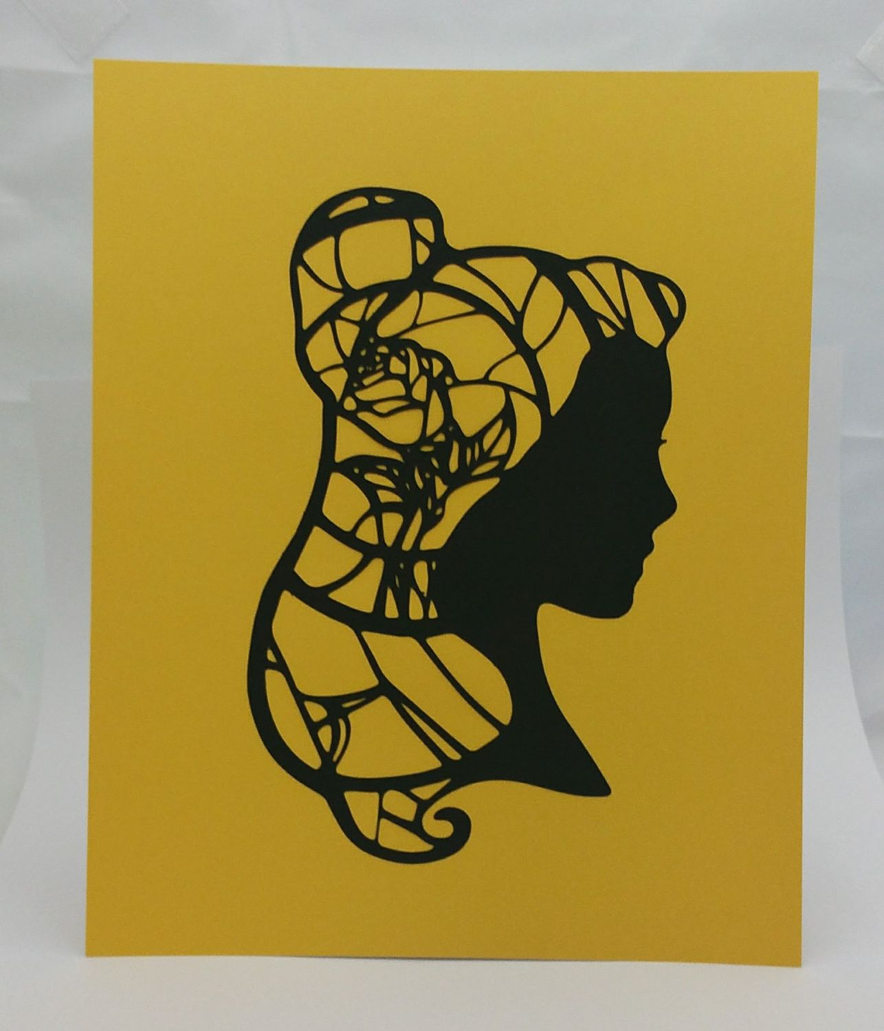 Belle Beauty and the Beast Inspired Cut Paper Silhouette Portrait 8 ...
