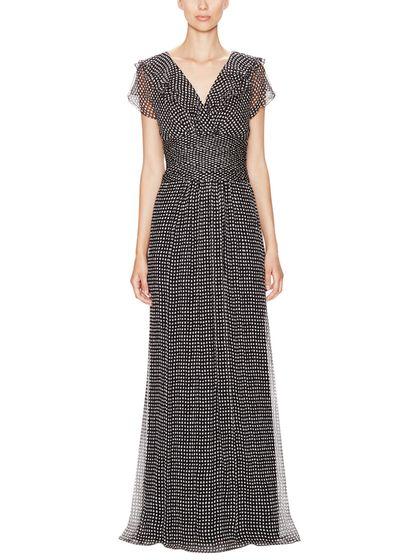 Silk Chiffon Dotted V-Neck Gown by Carolina Herrera at Gilt