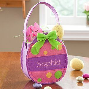 Amazon girls personalized easter egg treat bags purple easter negle Gallery