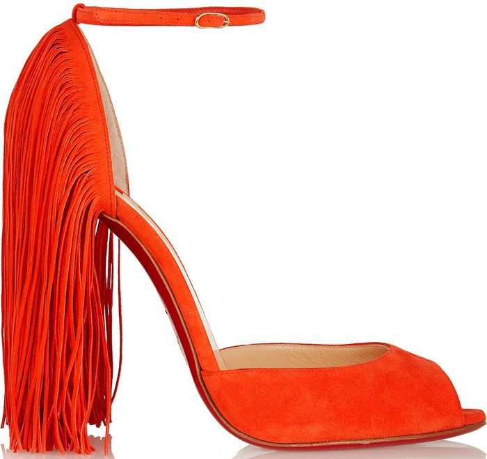 """Christian Louboutin """"Otrot"""" 120 Fringed Suede Sandals"""