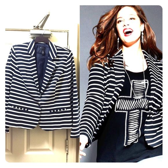 Black and white striped knit blazer