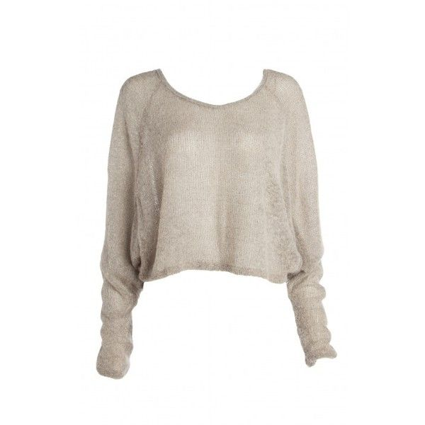 Taupe knit bat sleeve crop sweater ($32) ❤ liked on Polyvore ...