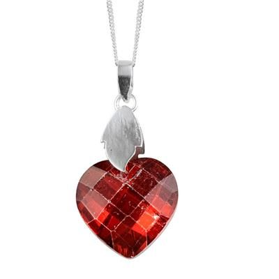 Made with Swarovski Elements - Red Crystal (Hrt) Pendant With Chain in Sterling Silver 14.530 Ct.Unbelievable price TJC.CO.UK