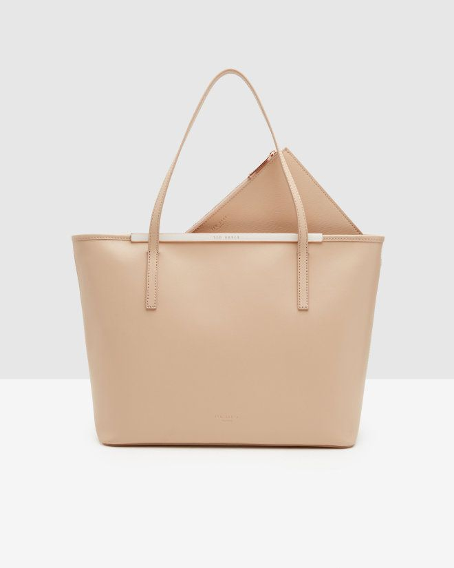 Crosshatch leather shopper bag - Taupe | Bags | Ted Baker UK