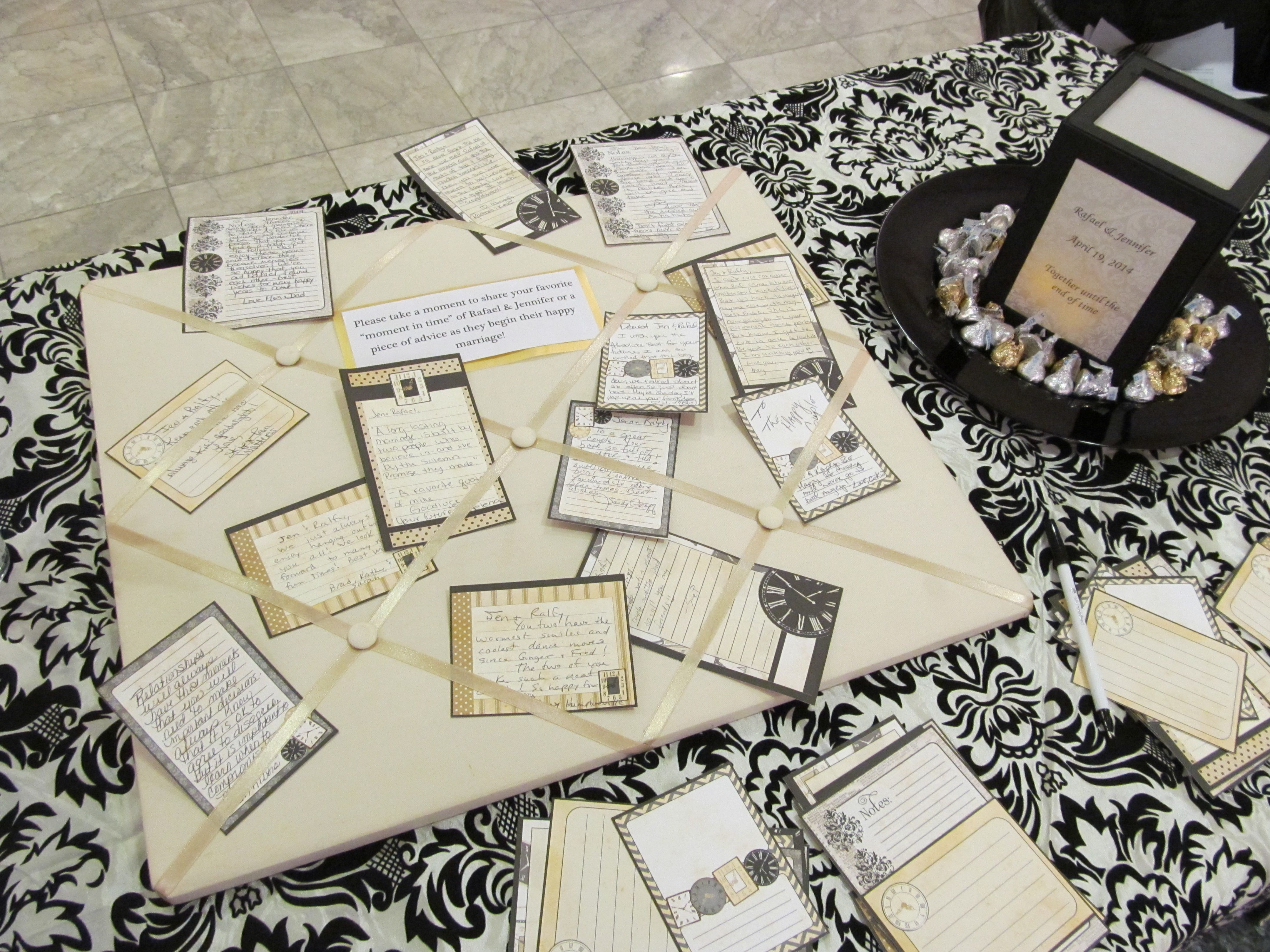 bridal shower party clocks memory board guests were asked to write down their favorite memory in time