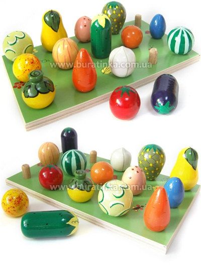 15 Fruits and Vegetables  wooden toy counting colours by Buratinko