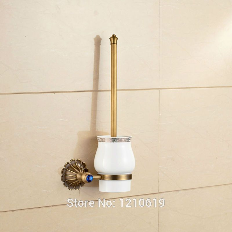 crystal bathroom accessories sets%0A Newly Antique Brass Toilet Brushed Holder Blue Crystal Toilet Brush Rack  Shelf Ceramic Cup Wall Mount