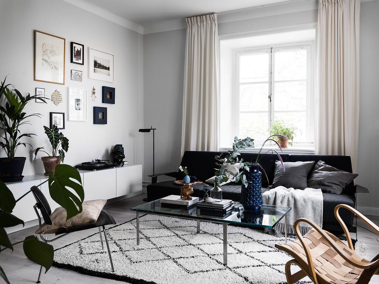 Scandinavian Living Room With Black