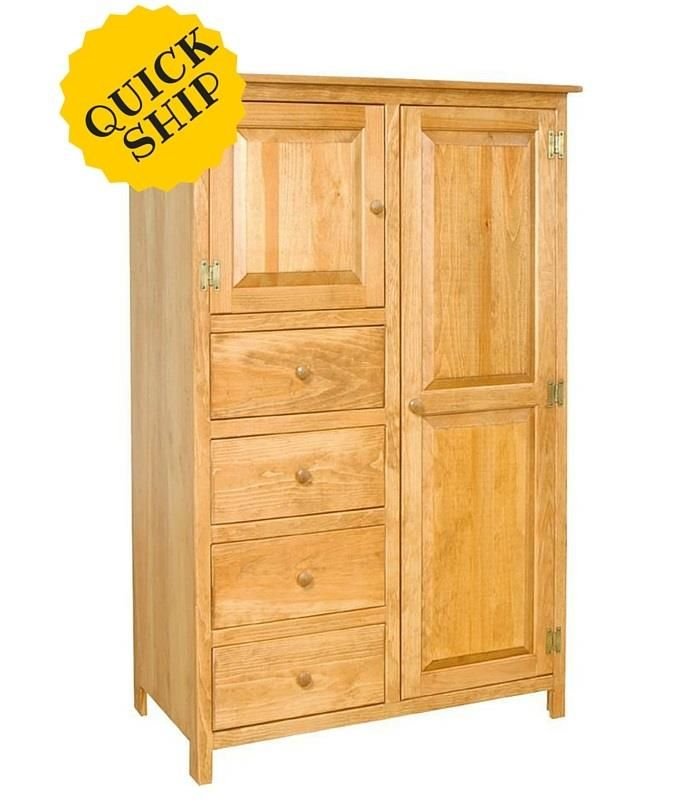 Amish Pine Wood Wardrobe Armoire