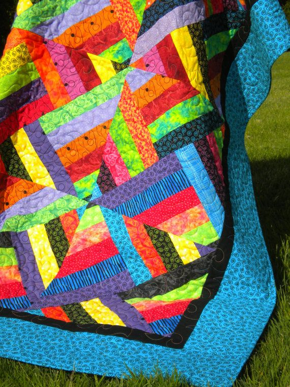 Bright Jewel Tone Quilt 58 x 72 lap quilt sofa by SewEverAfter, $250.00