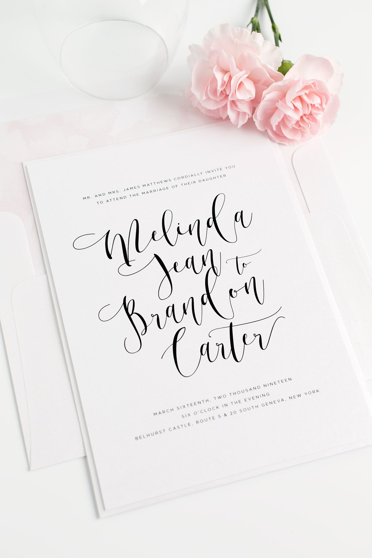 Flowing Calligraphy Wedding Invitations Pinterest