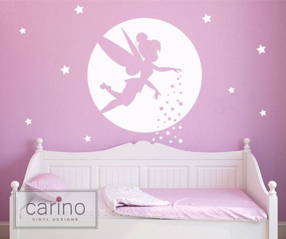 Moonlit Tinkerbell Silhouette Vinyl Wall By Carinovinyldesigns