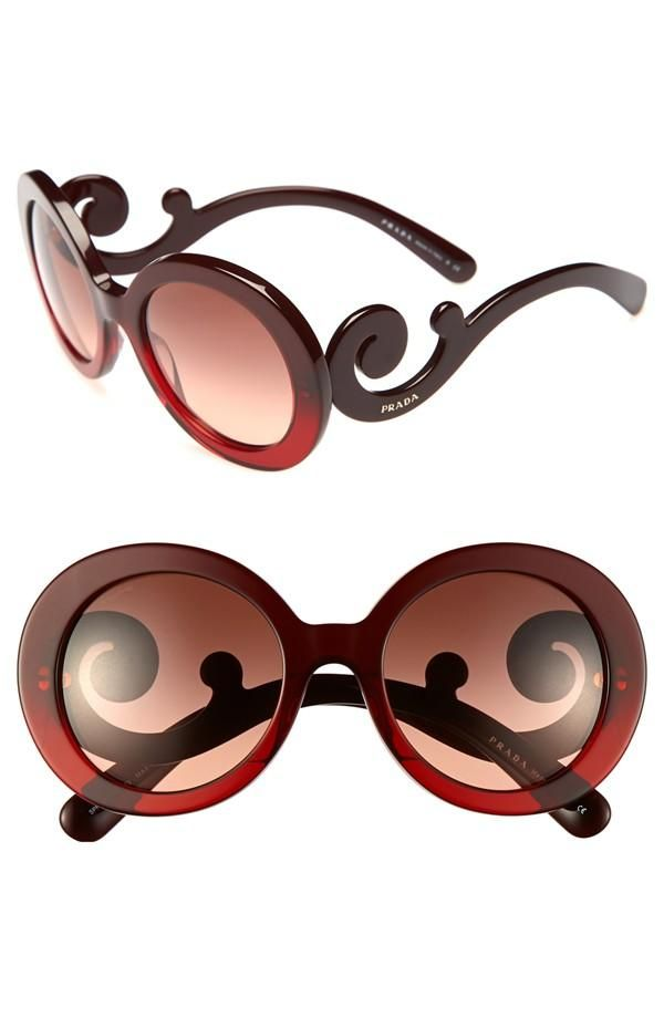 188175b083f11 Prada  Baroque  Red Round Sunglasses