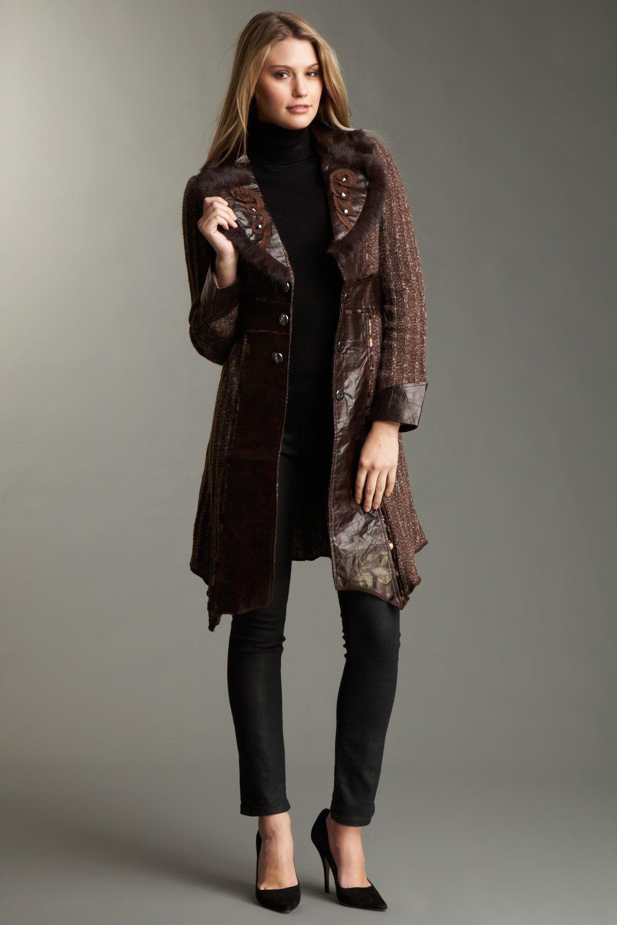 Love Token Long Sleeve Genuine Rabbit Fur Trim Faux