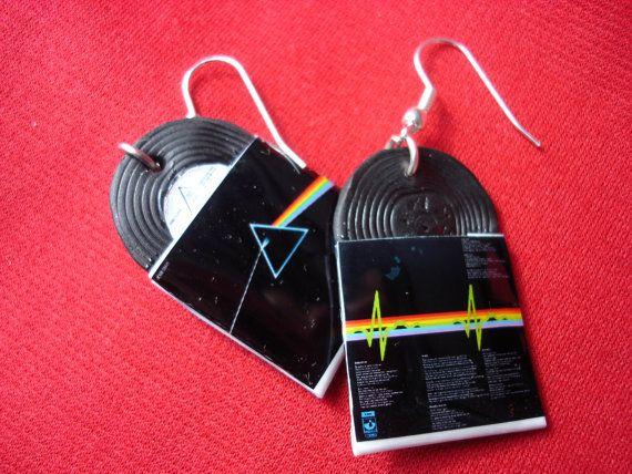 Pink Floyd Dark Side Of The Moon Vinyl Record Miniature Earrings